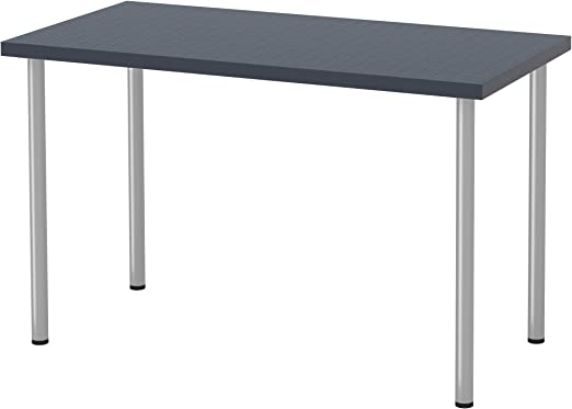 IKEA linnmon/adils Mesa Escritorio, geométrico Azul, Color Plata ...