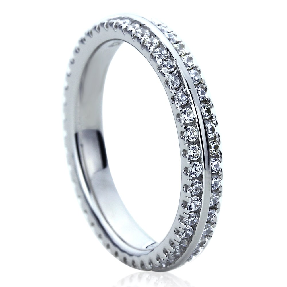 Double Accent Platinum Plated Sterling Silver 1ct CZ Two Row Pave Setting Eternity Ring Wedding Bands (Size 5 to 9), 7