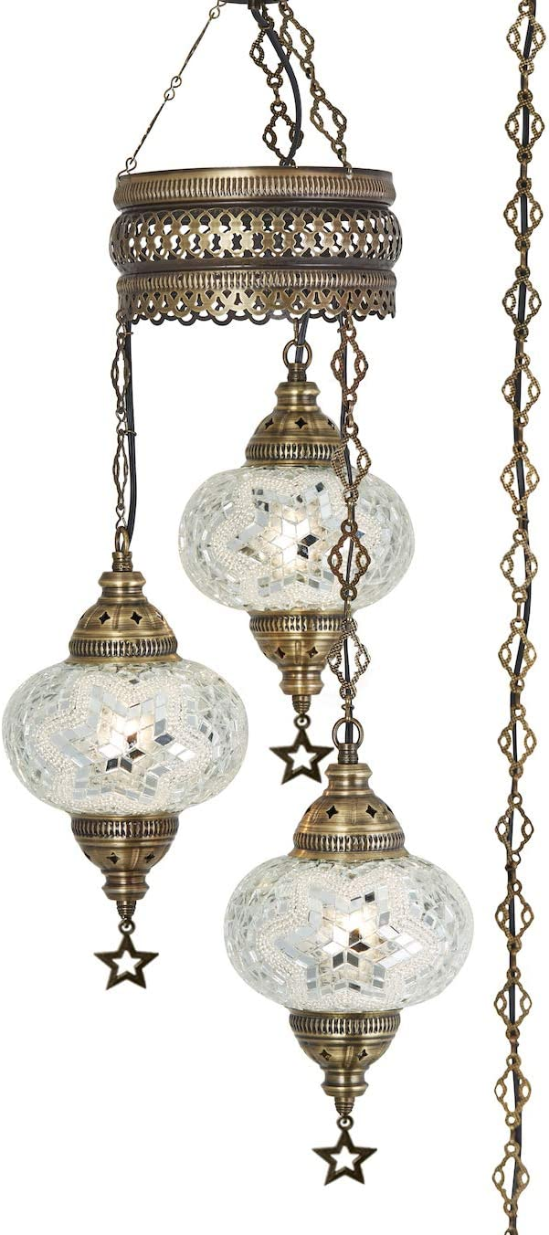 Demmex 2019 Turkish Moroccan Mosaic Hardwired OR Swag Plug in Chandelier with 15feet Cord Cable Chain 3 Big Globes Clear White Plug in