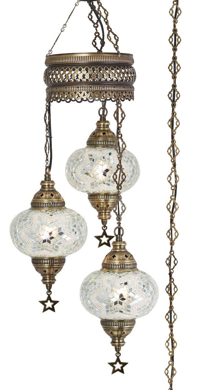 DEMMEX Turkish Moroccan Mosaic Hardwired OR Swag Plug in Chandelier Light Ceiling Hanging Lamp Pendant Fixture, 3 Big Globes 3 X 7 Globes Swag