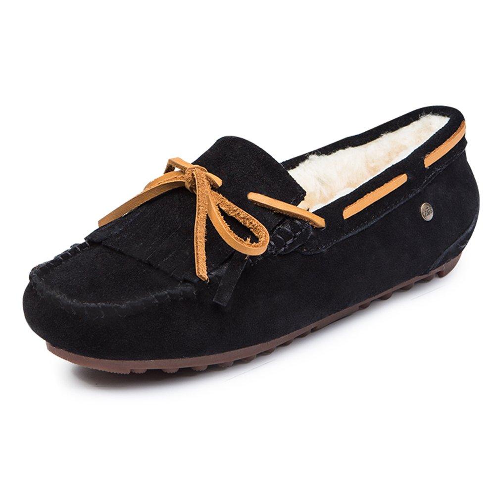 HAIZHEN Dames Filles Bottillons Femmes Flats Confort décontracté Flat Heel Tassel Noir / Marron / Violet / Rouge sous 1in Pour les 18-40 ans ( Couleur : Noir , taille : EU36/UK3.5/CN35 )