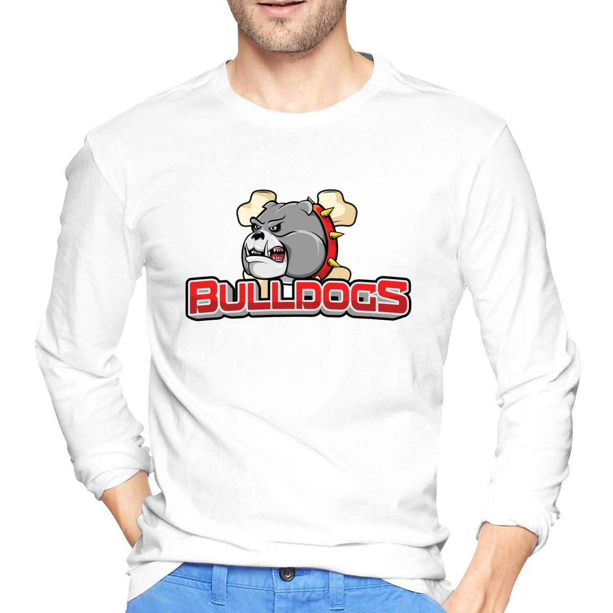 LONGTENG Designed T Shirt Cartoon Proud and Angry Bulldog Fashion T Shirts Long Sleeve Pure Cotton for Boys Black