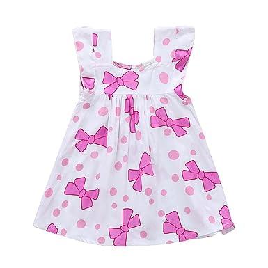 1c80e4a1d75030 Domybest 子供服 スカート 女の子 ベビー 赤ちゃん プリンセスドレス ノースリーブ ホワイト ワンピース 超柔らかい 可愛い ドット