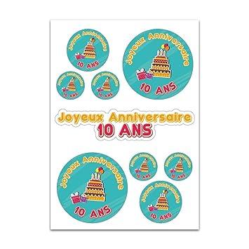 Tabla A4 de Pegatinas decorativas para cumpleaños 10 años ...