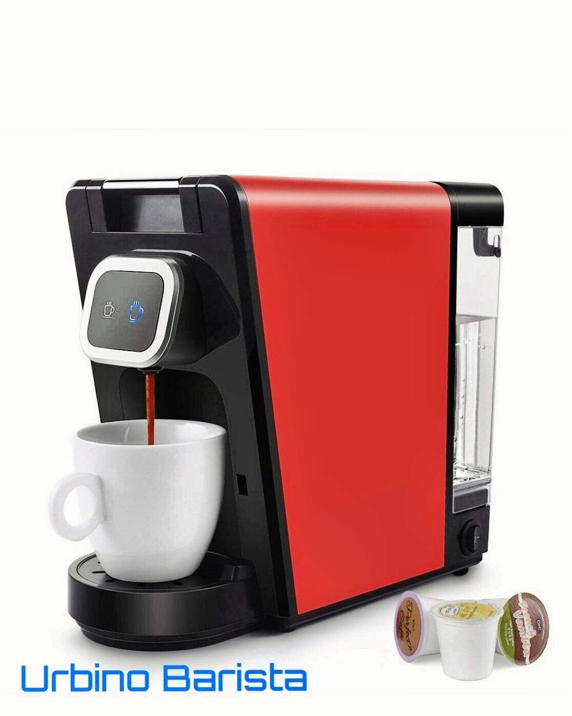 Urbino Barista compatible with K-cup Coffee Maker, Ground Coffee,Small and Big Cup Buttons with Indicator Light,Large Visible Removable Reservoir (RED-BLACK)