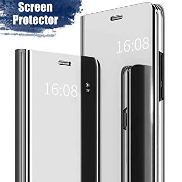 MadBee Funda LG V30 [Protector Pantalla], Fundas de Espejo Elegante Brillante Standing Flip Carcasa Cover Carcasa Funda Case para LG V30 (Plata)