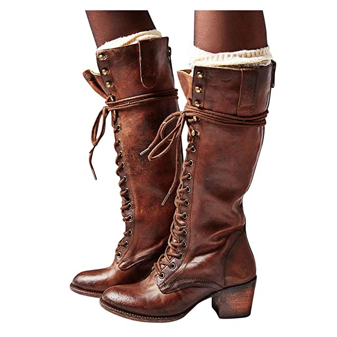Amazoncom Womens Fashion Over The Knee Heel Combat Boots
