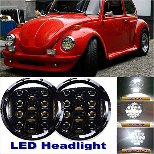 Classic Beetle (Pair 7'' LED Headlights Auto Lamp Round Upgrade DRL Hi/Low Beam For 1950-1979 VW Beetle Classic)
