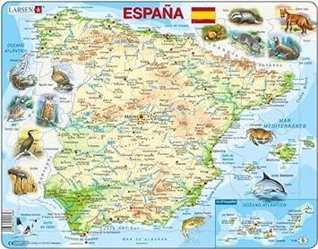 Puzzle 58 pièces - Puzzle Cadre - Carte de lEspagne (en Espagnol ...
