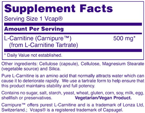 NOW L Carnitine 500mg, 60 Veg Capsules
