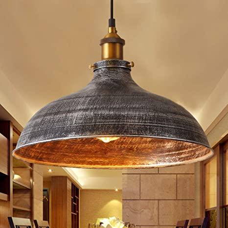 Niuyao 14 Wide Rustic Industrail Big Barn Pendant Light Lamp Dome Shade Hanging Ceiling Light Rust Silver 427709 Amazon Com