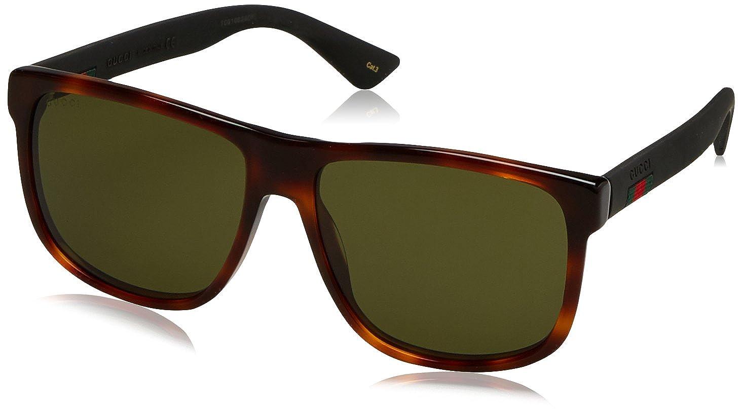2ff52bcdaa0 Amazon.com  Gucci GG0010S-006-58 Brown Aviator Sunglasses  Gucci  Clothing