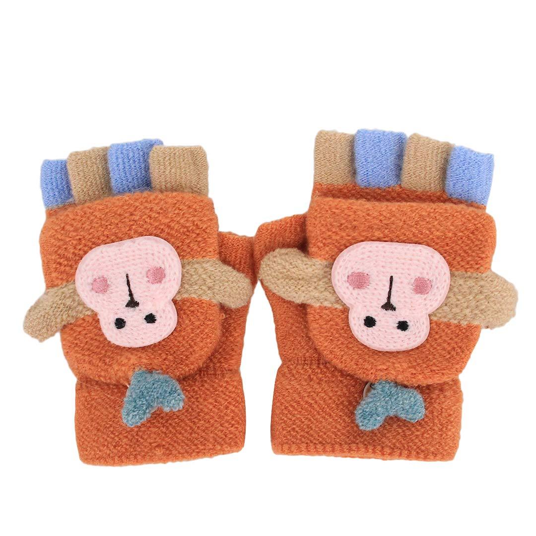 Tynora Cute Toddler Kids Boys Girls Monkey Winter Warm Knitted Cotton Stretchy Gloves Mittens