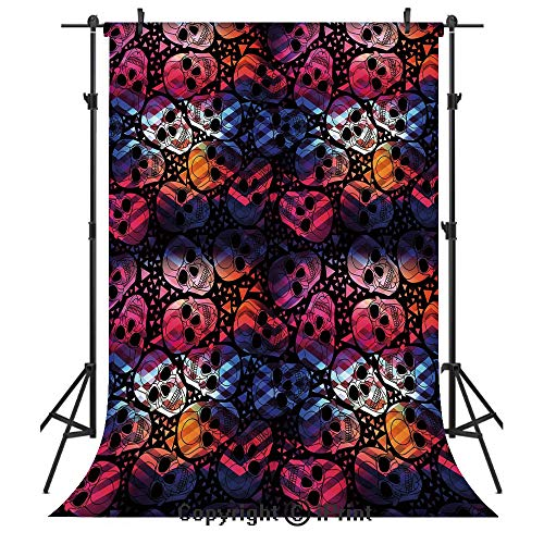 Halloween Photography Backdrops,Mexican Sugar Skulls Stylized Digital Polygonal Geometric All Saint Day Display Decorative,Birthday Party Seamless Photo Studio Booth Background Banner 3x5ft,Multicolor