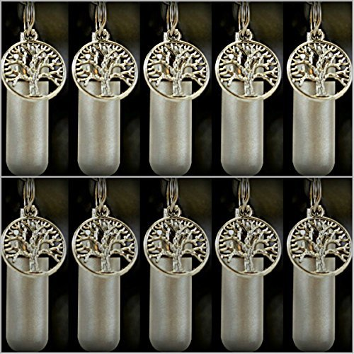 Wholesale Set of 10 - Tree Of Life Personal Cremation Urn Keychain/Keepsakes with Velvet Pouch & Fill Kit ()