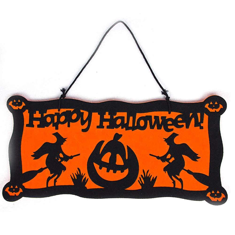 Runfon Panneau Suspendu Happy Halloween Sign 34cm Plaque de Porte pour d/écoration de Halloween pour Bar Magasin Maison Restaurant etc