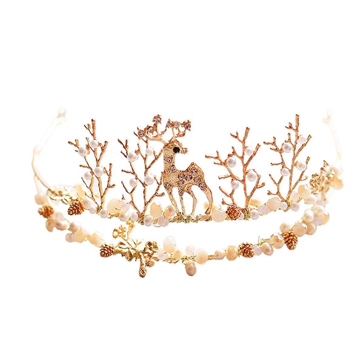 Girls Crown, Beautiful headdress/Bridal Crown Fawn Handmade Hoop Crystal Pearl Headwear Wedding Dress Accessories Wedding Accessories.