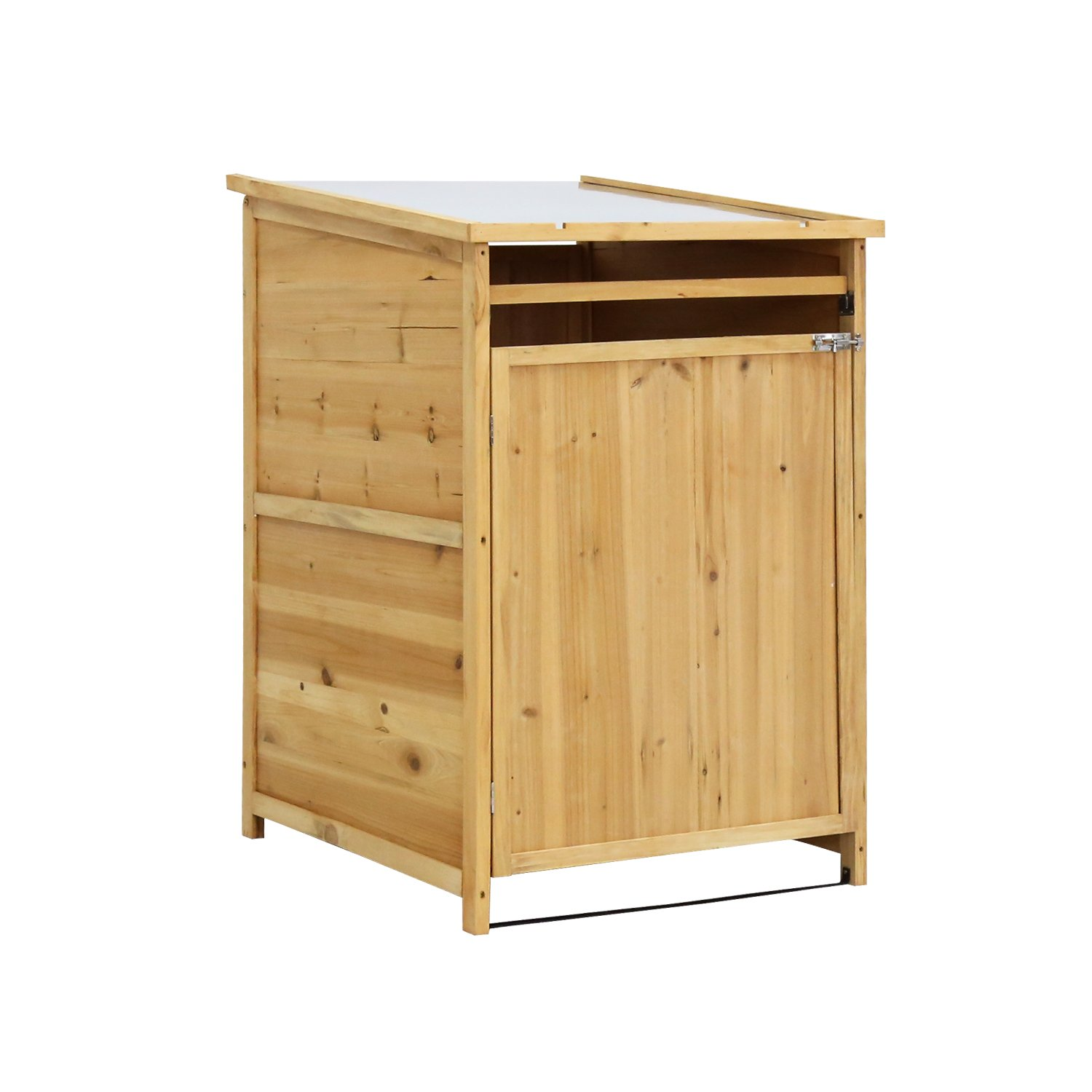 Kinbor Outdoor Wooden Storage Shed Lockers Cabinet for Garden Yard with Single Doors