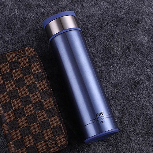 Blue Stainless Steel Bottle Coffee Travel Mug With Tea Infuser 14Oz by Travel Mugs