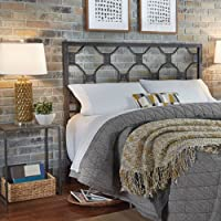 Baxter Metal Headboard with Geometric Octagonal Design, Heritage Silver Finish, California King