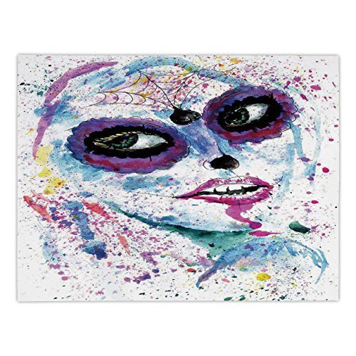 iPrint Rectangular Satin Tablecloth,Girls,Grunge Halloween Lady with Sugar Skull Make Up Creepy Dead Face Gothic Woman Artsy,Blue Purple,Dining Room Kitchen Table Cloth Cover ()