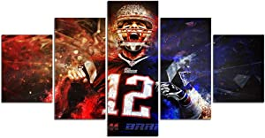 Tom Brady Pictures for Wall Art Paintings 5 Piece Canvas Living Room Decor Abstract Artwork House Decoration Poster Prints Framed Ready to Hang(60''Wx32''H)