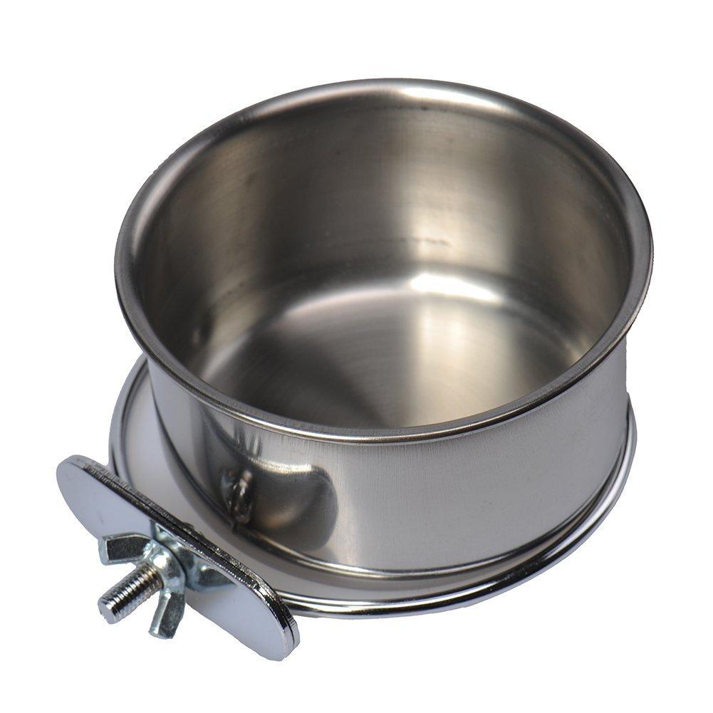 Cuenco de agua de acero inoxidable para mascotas, jaulas de pájaros, perro, gato, loro, pájaros, conejo, mascota Hypeety