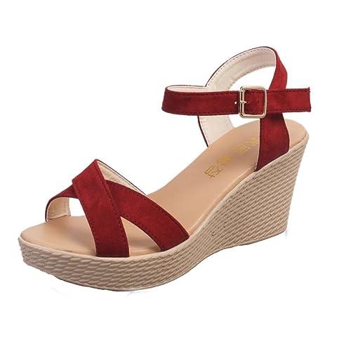 321671b1 Cinnamou Sandalias de Tacón Alto con Hebilla para Mujer, Verano Zapatillas Moda  Pez Boca Plataforma