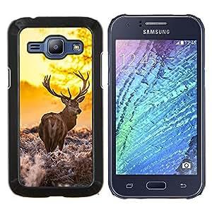 KLONGSHOP // Cubierta de piel con cierre a presión Shell trasero duro de goma Protección Caso - La mañana Majestuoso Stag - Samsung Galaxy J1 J100 //