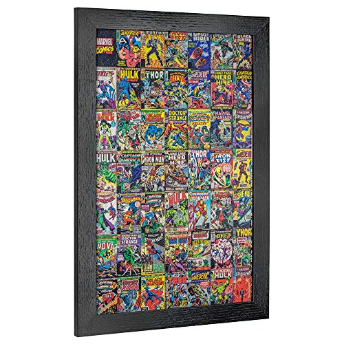 "Crystal Art Licensed Marvel Comic Book Collage Framed Wall Art, 19"" H x 13"" L, Multicolored"