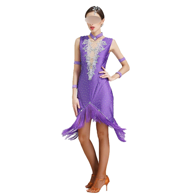 Latin Dance Dress Tassel Women Dancing Clothes Dancewear Salsa Costumes,Purple,XXXL by Colourful Day Dance Dress