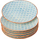 Nicola Spring Patterned Side / Dessert Plates - 180mm (7 Inches) - Blue / Orange Print Design - Box Of 6 by Nicola Spring