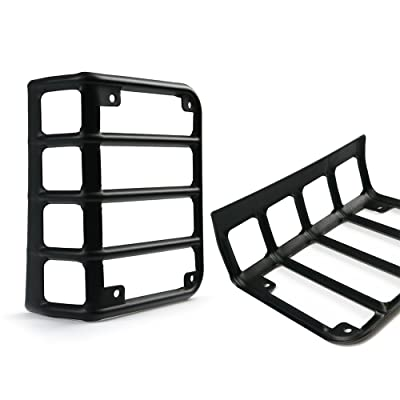 Xprite Matte Black Tail Light Guard Covers For Rear Taillights for 2007-2020 Jeep Wrangler JK Unlimited (Tail Light): Automotive