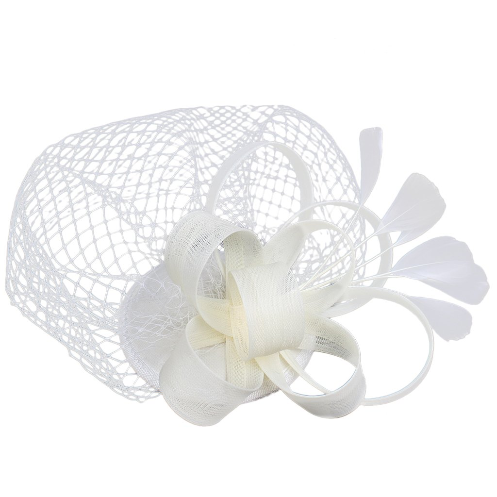 MagiDeal Bridal Fascinator Hairclip Wedding Headpiece Veil Feather Hairpins Mini Hat STK0156014764