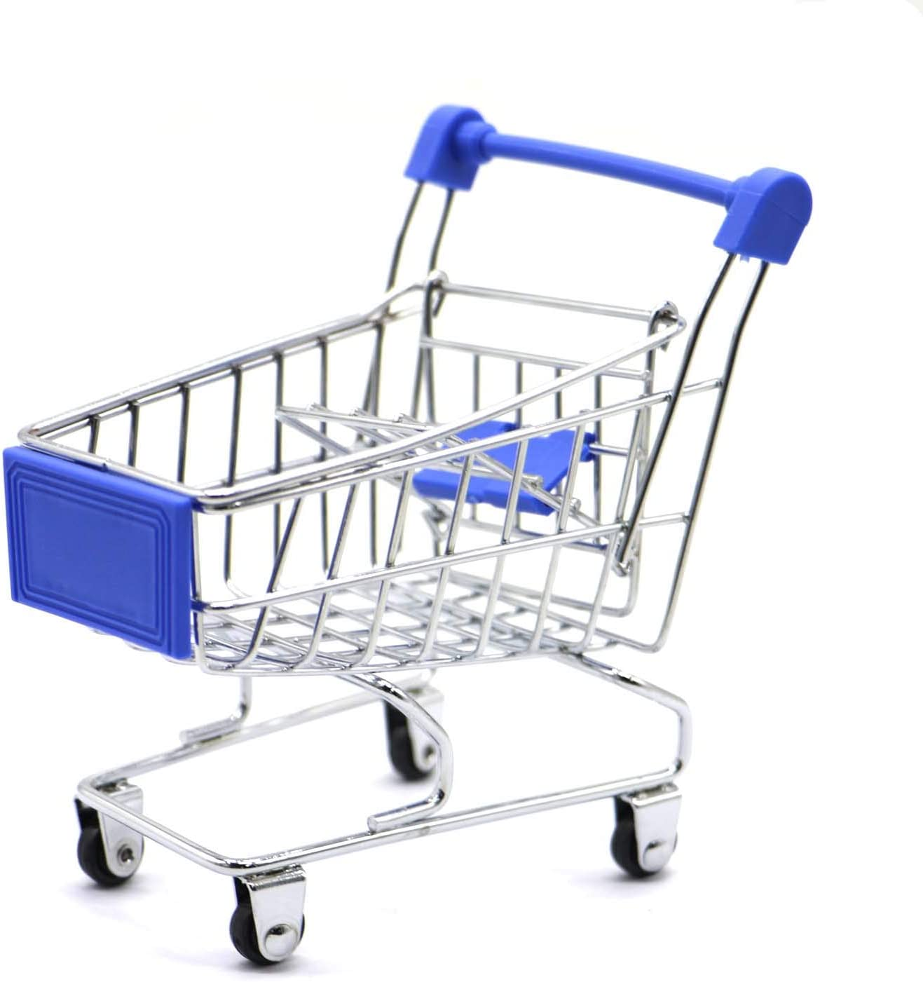 Kids Mini Shopping Cart Roll Wheel Moving Doll Toys Holder Cool Desk Holder Tiny Cute Supermarket Cart Trolly Sturdy Metal Novelty Adorable Gifts For Children (dark blue, M(7.1×5.3×6.5 inch))