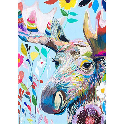 DIY 5D Diamond Painting by Number Kits, Painting Cross Stitch Full Drill Crystal Rhinestone Embroidery Pictures Arts Craft for Home Wall Decor Gift Colored elk Deer (J4904-11.8X15.7in)