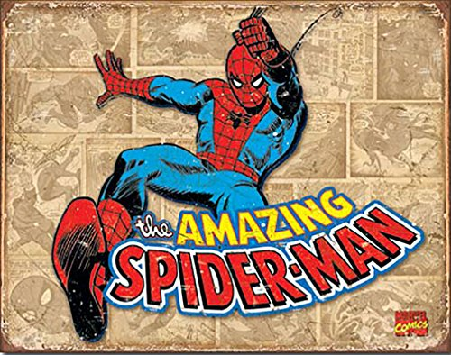 Spider-Man Retro Panels Marvell Comics Retro Vintage Decor Tin Sign 12.5 in Wx16 in H