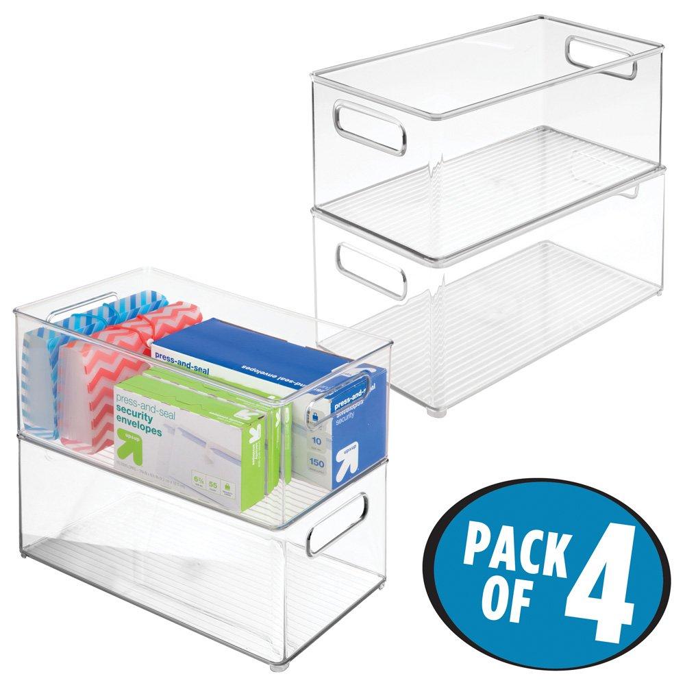 mDesign Office/Desktop Storage and Organization Bin - Pack of 4, Deep, Clear