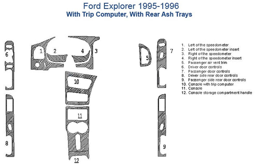 Ford Explorer Dash Trim Kit, 4 Doors, With Trip Computer - Oxford Burlwood