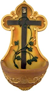 CB Crown of Thorns Cross with Vines Resin Holy Water Font, 5 1/4 Inch
