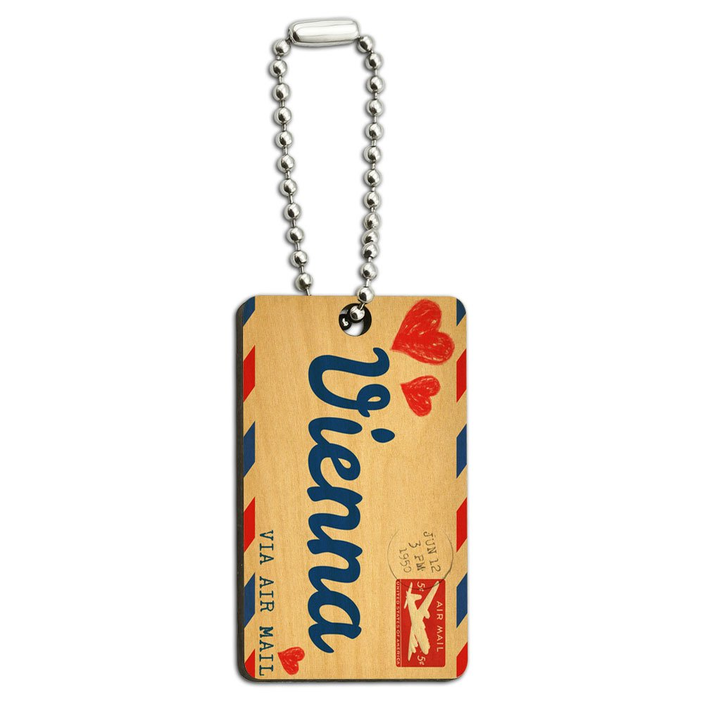 Air Mail Postcard Love for Vienna Wood Wooden Rectangle Key Chain