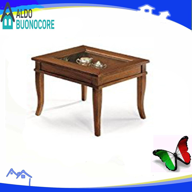 Lo Scrigno Arredamenti, Tavolino quadrato da salotto Classico con vetro W64/N