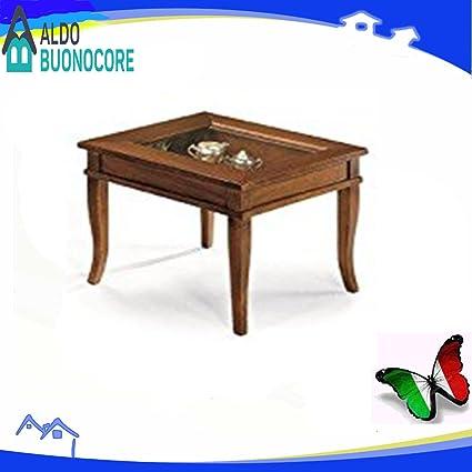 Tavolino Da Salotto Quadrato Classico.Lo Scrigno Arredamenti Tavolino Quadrato Da Salotto Classico Con Vetro W64 N