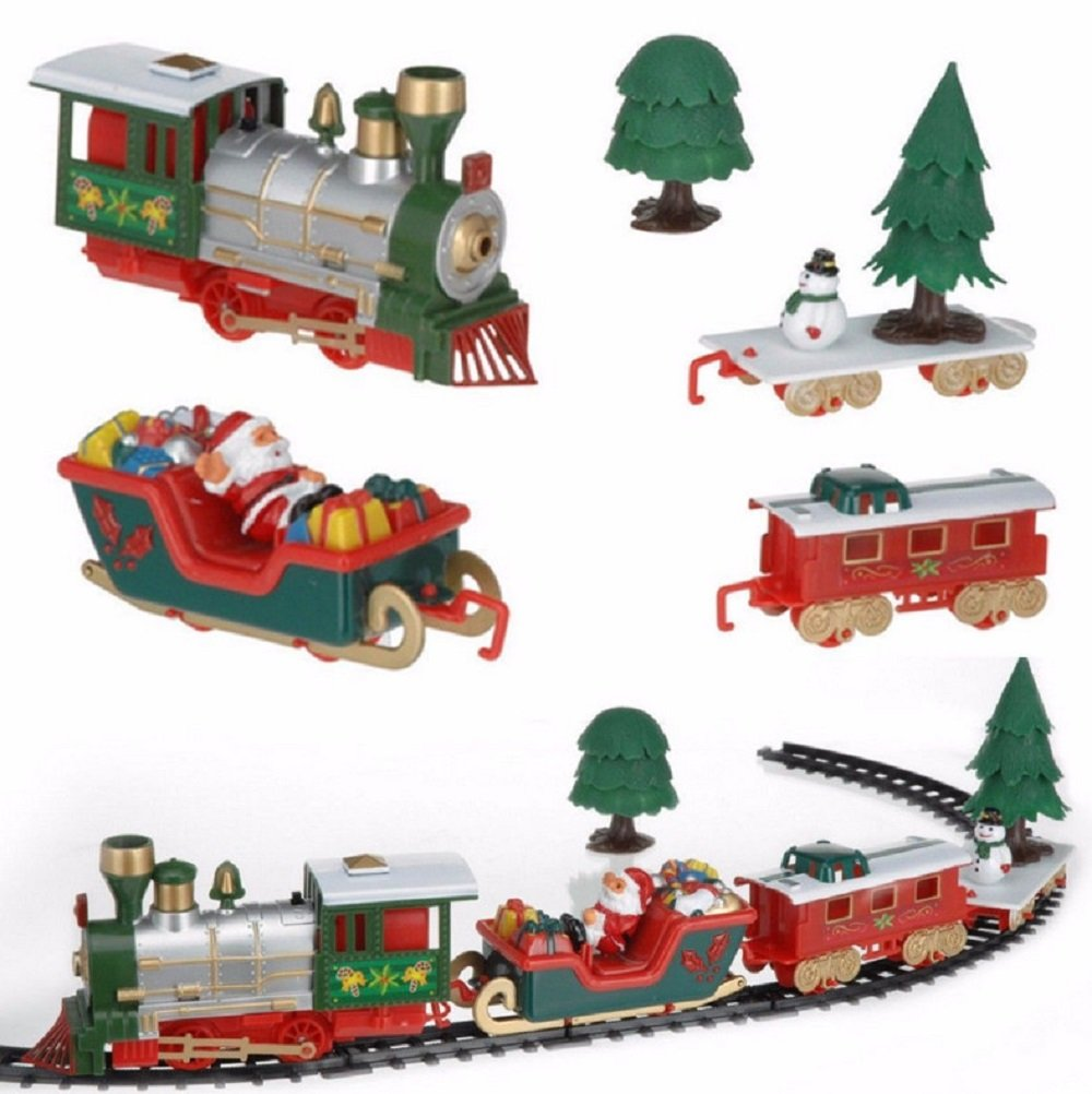 Classic Train Set Musical Christmas Train and Carriages Christmas Tree Train Set with Light Gift For Kids Railway Car