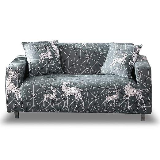 HOTNIU Stretch funda de sofá 1-Piece Poliéster Spandex Tela Couch Cubierta para patrón #Kjjhl 3 plazas