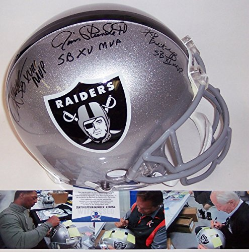 Marcus Allen, Fred Biletnikoff & Jim Plunkett Autographed Hand Signed Los Angeles Raiders Full Size Authentic Pro Line Football Helmet - with SB MVP Inscription - BAS Beckett