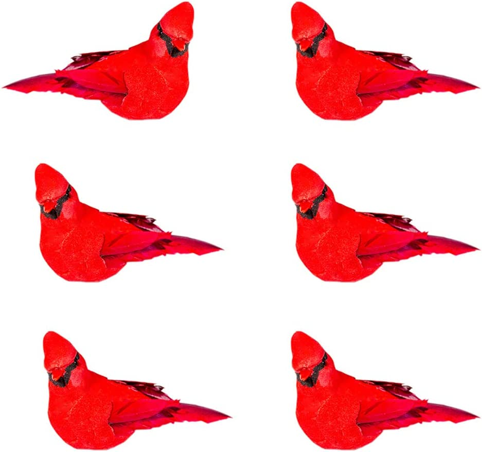 OHJ Christmas Cardinal Floral Red Artificial Feathered Birds on a Iron Wire Xmas Tree Ornaments Craft Decorations for Home Garden Wedding Decor Pack of 6