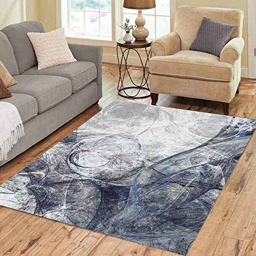 Semtomn Area Rug 5' X 7' Artistic of Paints Abstract Beautiful Grey and Blue Modern Home Decor Collection Floor Rugs Carpet for Living Room Bedroom Dining -