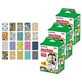 3x Fujifilm instax mini Instant Film (60 Exposures) + 20 Sticker Frames for Fuji Instax Prints Travel Package