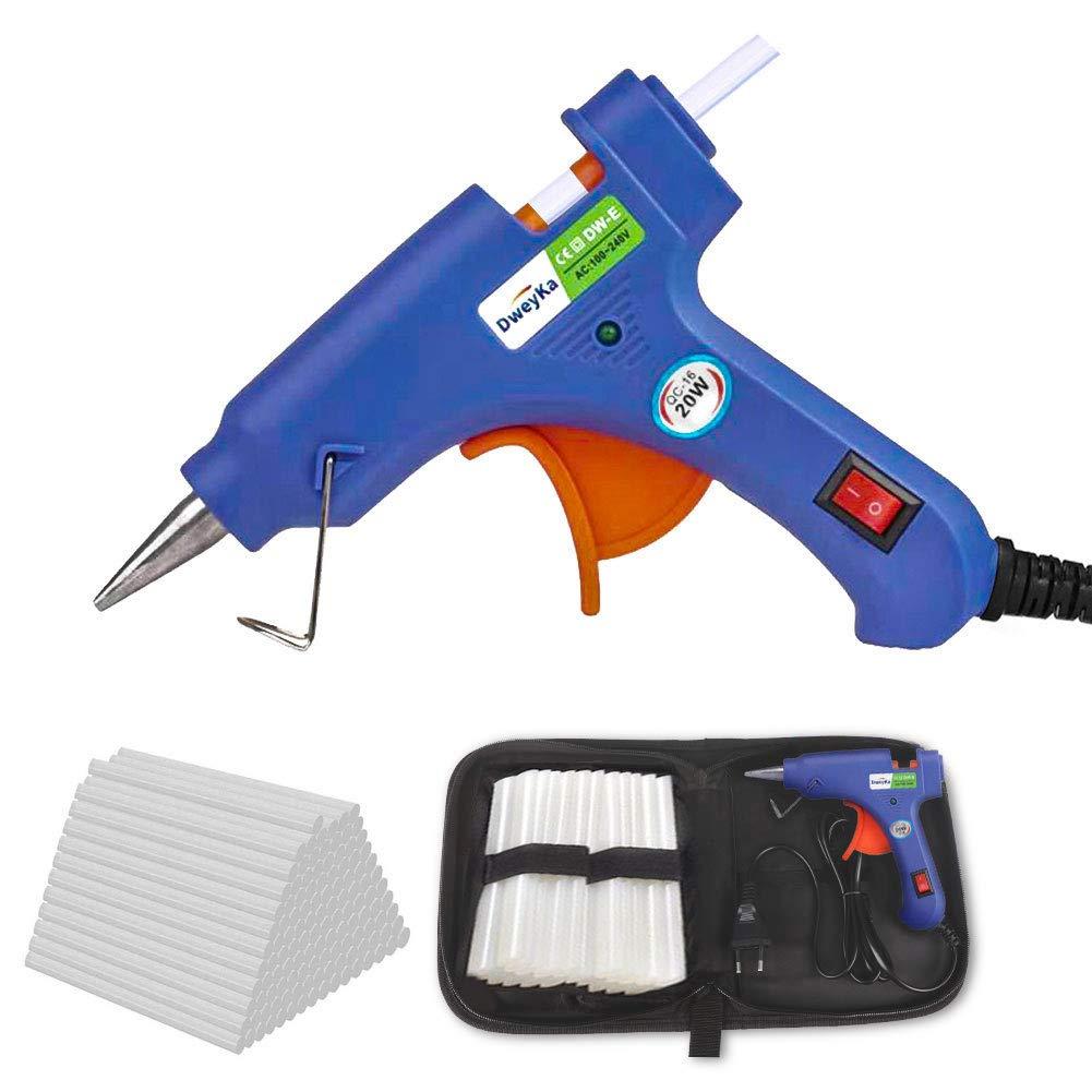 Mini pistola de silicona con 75 Piezas transparente Barras de Pegamento para DIY Peque/ño Arte, Empaques, Reparaciones R/ápidas y en el hogar, oficina y escuela(20W